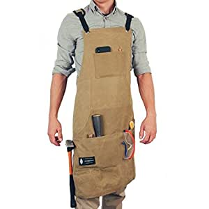 Waxed Canvas Apron -Heavy Duty Woodworking & Machinist Shop Apron with Tool Pockets - Utilities & Tools Apron with Padded Straps & Quick Release Fastener- Adjustable M to XXXL - 16 OZ