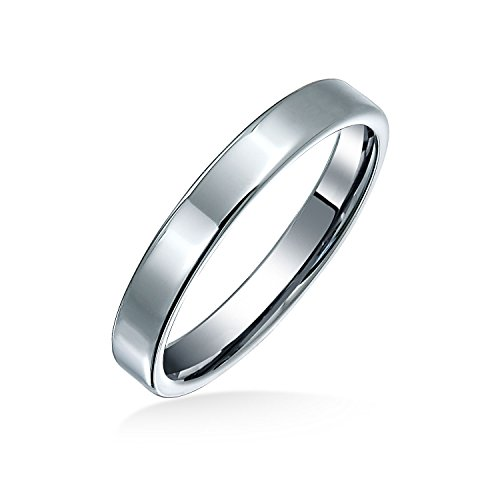 (Bling Jewelry Plain Simple Thin Cigar Flat Couples Wedding Band Tungsten Rings for Men for Women Polished Silver Tone Comfort Fit 3MM)