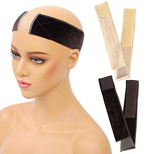 Wig Grip Headband No Slip Wig Band Lace Wig Head Hair Band Scarf Velvet Women Edge Saver With 2pcs Wig Caps(Beige And…