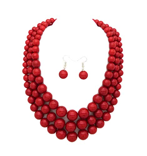 - Fashion 21 Women's Three Multi-Strand Simulated Pearl Statement Necklace and Earrings Set (Red)
