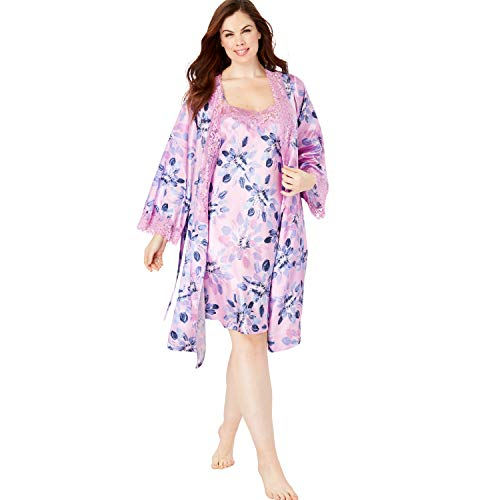 Amoureuse Women's Plus Size The Luxe Satin Short Peignoir Set - Light Orchid Flowers, 1X