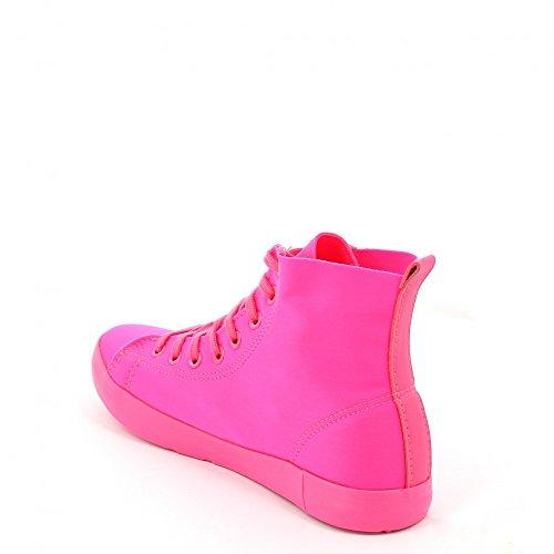 Ideal Shoes Basketballschuhe in Leinwand Evelyna Fuchsia
