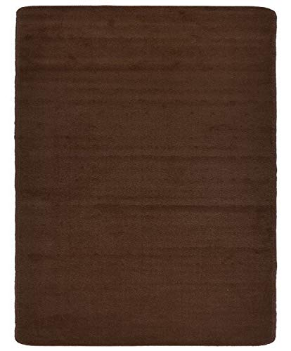 Euro Collection Solid Color Area Rug Rugs Slip Skid Resistant Rubber Backing Machine Washable More Color Options (Brown, 5 x 7 (4'11' x ()