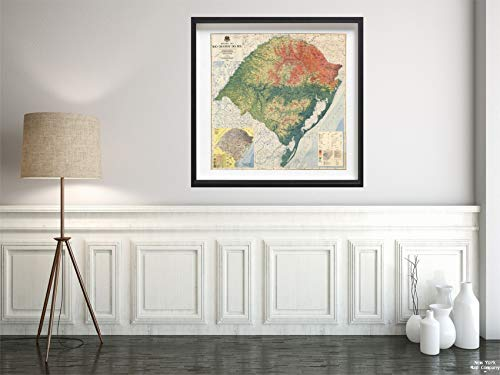 (Map|Wall, Brazil, Rio Grande do Sul - Physical. 1966|Historic Antique Vintage Reprint|Size: 24x24|Ready to Frame )