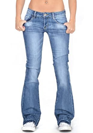 Cindy.H Women's Faded Flared Hipster Bootcut Stretch Jeans with ...