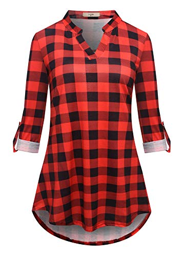 - Luranee Loose Fitting Tops for Women, Ladies Buffalo Plaid Shirts Notch V Neck Zulily Tunics 3/4 Sleeve Office Blouses Shopping Working School House Wear Clothes Wine XXL