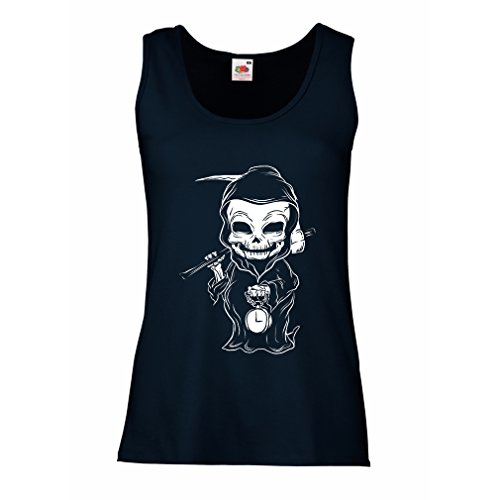 lepni.me Sleeveless t Shirts for Women The Grim Reaper, Death with Sickle Skeleton - Scarry Horror Design (X-Large Blue Multi Color) -