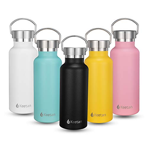 Keetan Vacuum Insulated Sports Water Bottle Double Walled 18/8 Stainless Steel Water Bottles Leak-Proof Powder Coated Travel Mug with Bonus Cap Multiple Colors and Sizes(17oz, Black)