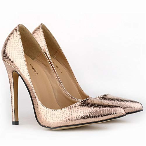 Women's Pointed Toe Dress Court Shoes   High Heel Party Club bar Wedding, Copper Crocodile, 42