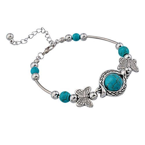 Loweryeah 1Pc Rimous Blue Turquoise Inlay Butterfly Bead Bangle Bracelet Fashion Jewelry