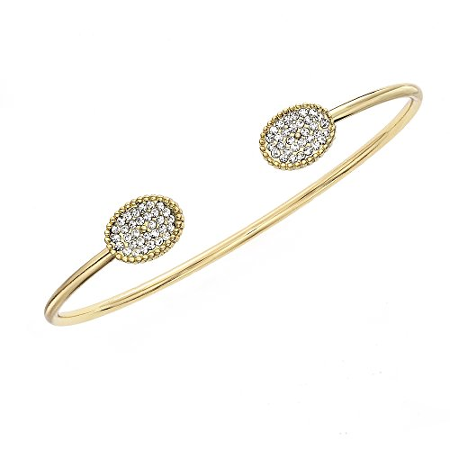 Collection Bijoux 14K Gold, Rose Gold, or Rhodium Plated Open Bangle Bracelet with White Crystal ()