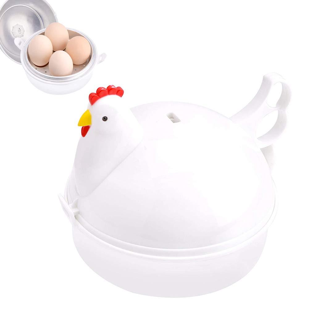 LJLGC Egg Cookers,Stainless Steel Chicken Shaped Microwave 4 Eggs Boiler Cooker Egg Poachers