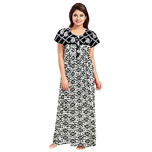 jwf Women's Cotton Midi Nighty/Nightwear/Night Dress/Sleepwear/Gown (Multicolour, Free Size)