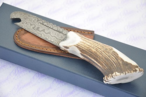 New Genuine Damascus Steel Full Crown Stag Handle Sheffield Sgian Dubh Bottle Opener Boxed with Leather Sheath