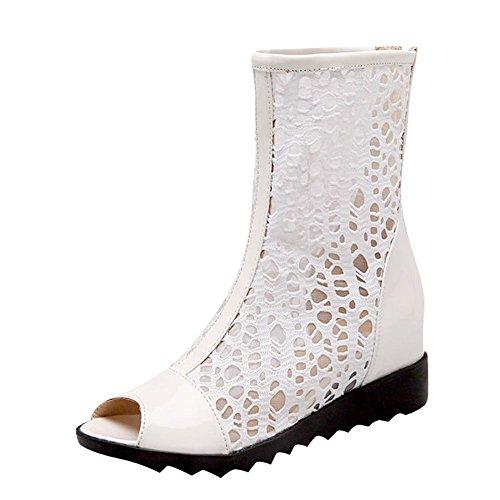 Charm Foot Womens Fashion Peep Toe Mesh Hidden Heel Wedge Summer Boots White oB3ZzGv8MW