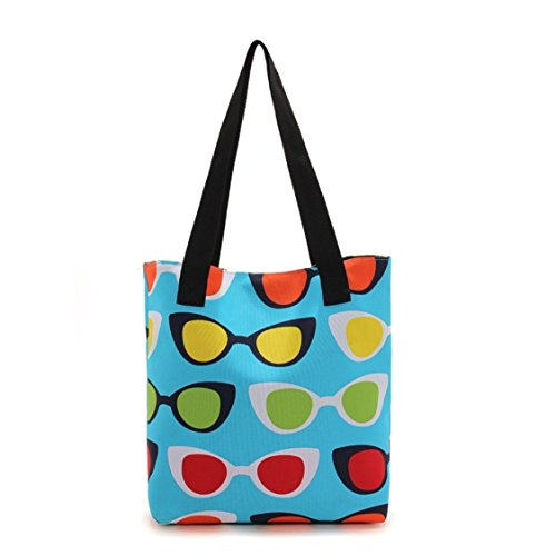 Flowertree Women's Polyester Sunglass Print Canvas Tote Bag in - Sunglasses Totes