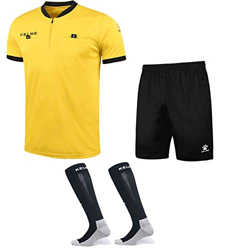 - KELME Pro Soccer Referee Jersey Bundle - Includes Referee Jersey, Shorts and Socks (Medium, Yellow)
