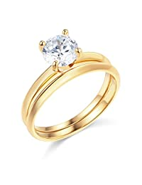 14k Yellow OR White Gold SOLID Wedding Engagement Ring and Matching Band 2 Piece Set