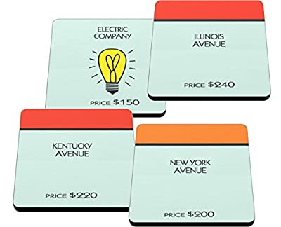 Monopoly Game Board Coasters Made in USA on Neoprene Coaster Set of 4 for Gamer Enthusiast Kentucky, Illinois, New York, Electric