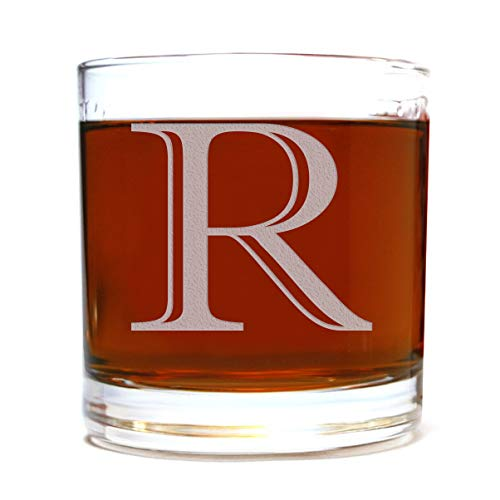 Etched Monogram 10.5oz Rocks Old Fashioned Lowball Glass for Whiskey Scotch Bourbon (Letter R) ()