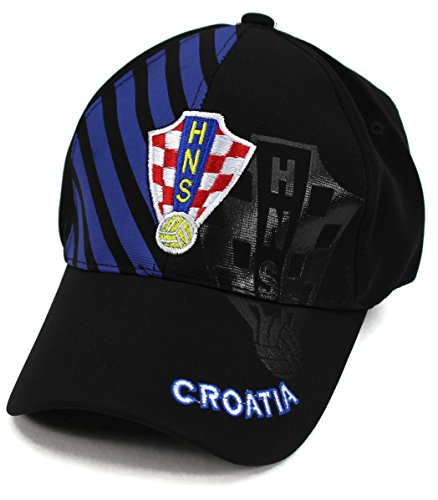 High End Hats World Soccer/Football Team Hat Collection Baseball Cap Flexfit Hat, Croatia with HNS Logo, Blue