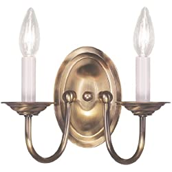 Livex Lighting 4152-01 Home Basics 2 Light Antique Brass Wall Sconce