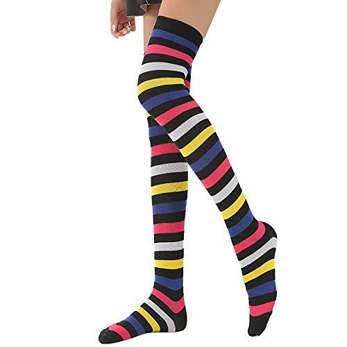 14796aa5c8c Women Rainbow Winter Warm Cable Long Boot Socks Cosplay Over Knee Thigh  High Stockings Hanican