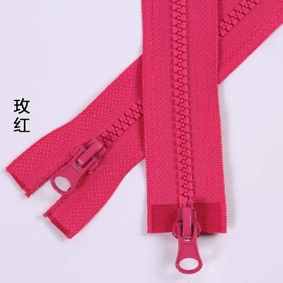 Double Placket - Maslin 5pcs/lot Rose red Zipper 5# Double Zipper Head Resin Double Sliders Open-end Garment Placket Bedding Bag Zipper - (Color: Rose red, Size: 5#, Length: 120cm)