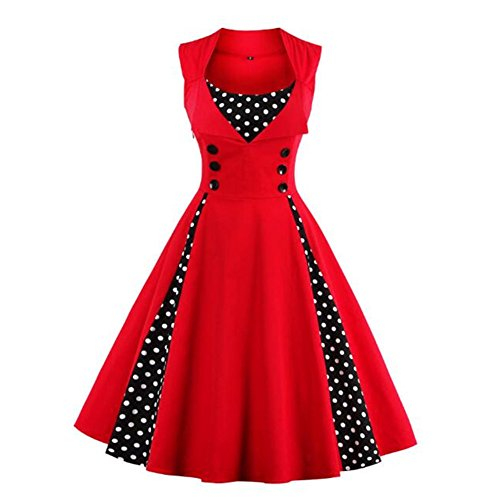 Retro Cocktail De Soire Manches Femme Robe Robe Swing Newbestyle Robe de De Rouge sans De Polka Point PfRxZ