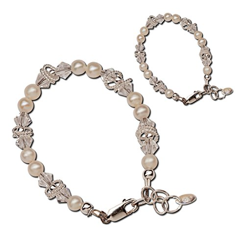 Sterling Silver Mom and Me Cultured Pearl Bracelet Set with Swarovski Crystals for Mother and Daughter (Baby Basket Gift Mother)