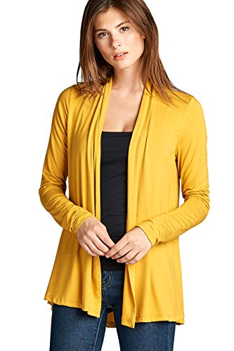 (ReneeC. Women's Extra Soft Natural Bamboo Open Front Cardigan - Made in USA (Medium, Mustard))