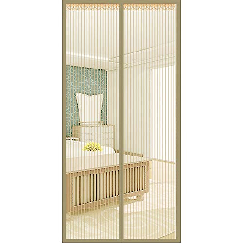Door Mosquito Mesh, Mesh Curtain Door Screen Tough and Durable Easy Open and Close Magnetic fit Front Rear Interior Exterior Entry Porch Balcony Glass Door Fishing Boat,Beige,200x220cm(79x87in)