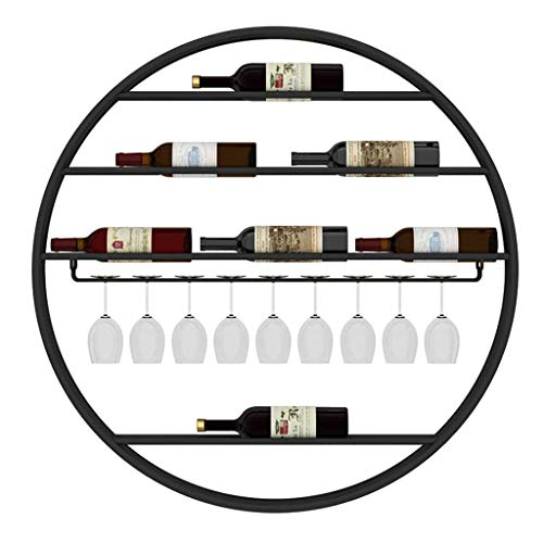 GCM Bottles Round Wall Shelf Wine Rack Wrought Iron Wine Cup Holder Wall-Mounted Wine Glass Holder Wine Cabinet Wine Display Rack for Home Wine Cellar Bar (Color : Black, Size : 9090cm)