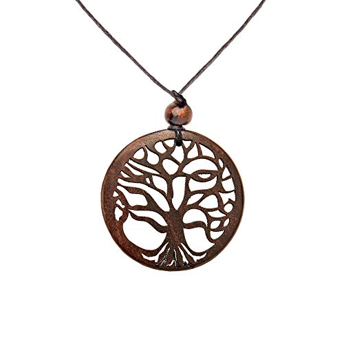 81stgeneration Women's Men's Wood Hand-Carved Round Tree of Life Black Cord Pendant Necklace ()