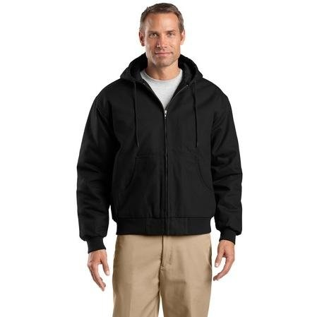 Work Cornerstone Jacket - Cornerstone - Hooded Duck Cloth Work Jacket. J763H - XX-Large - Black
