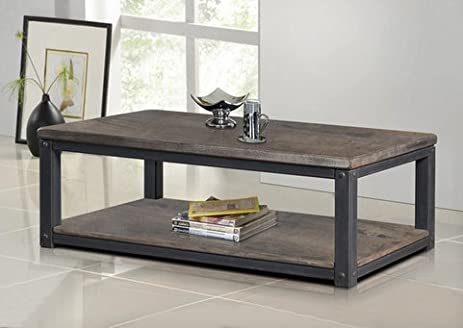 Amazoncom Heritage Rustic Wood and Metal Coffee or Tea Table