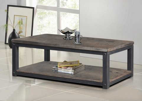Heritage Rustic Wood and Metal Coffee or Tea Table Vintage Industrial Style Living Room Furniture ()