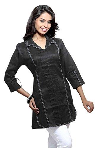 Beautifully Embroideredblack Sheer Collar Ladies Tunic Shirt (XS) by Jayayamala