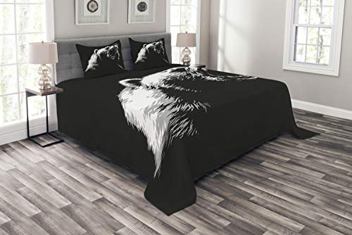 - Ambesonne Bear Bedspread Set King Size, Sketch Line Style Roaring Carnivore Fur and Fangs Aggressive Predator Fauna, 3 Piece Decorative Quilted Coverlet with 2 Pillow Shams, Charcoal Grey White