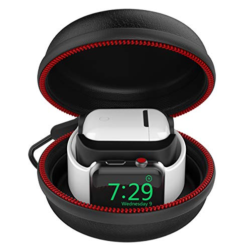 HALLEAST Charging Stand Compatible with Apple Watch Charger and Airpods Case Hard Sport Protable Protective Travel Carrying Case for Apple Watch Charging Station, Airpods Charger Dock 2in1