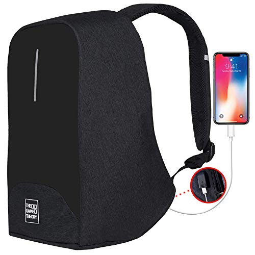 (Travel Laptop Backpack, Black Anti-Theft Bag with USB Port for College/Business)