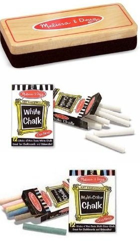 Melissa & Doug Eraser and Chalk Set With 24 Chalk Sticks and Wood-Handled Felt Eraser