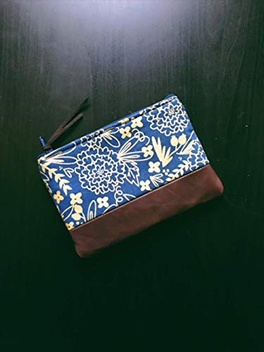 Leather Coin Purse Floral Blue, Small Leather Pouch, Change Purse, Small Wallet