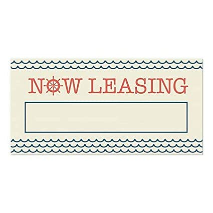 24x12 CGSignLab Nautical Waves Window Cling Now Leasing 5-Pack
