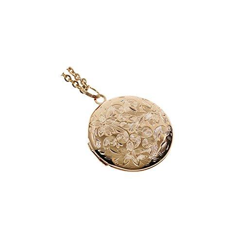 (Ms.Iconic 27MM Flower Engraved Rose Gold Photo Locket Pendant Charm Necklace )