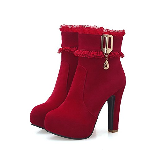 Heels Suede Boots Round Red Zipper High Women's Closed Toe Imitated WeiPoot Solid wqSxXt14