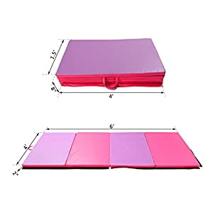 "Folding Pilates Gym Mat Gymnastics Aerobics Exercise Yoga Tumbling Pink Purple 4'x6'x2"" Pink Purple"