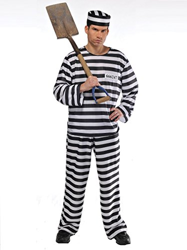 (AMSCAN Convict Prisoner Halloween Costume for Men, Plus Size, with Included)