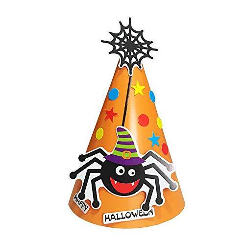 Lmtime DIY Halloween Paper Cartoon Cap Child Child Halloween Ornament Hatn Bat Pumpkin Hat (Orange C)]()