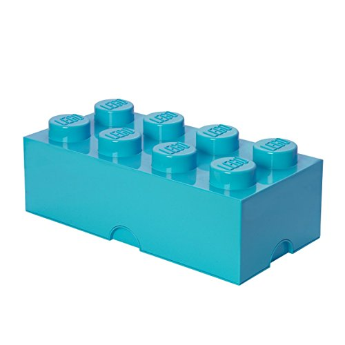 LEGO 40041743 Brick 8 Knobs, Stackable Storage Box, 12 L, Medium Azure